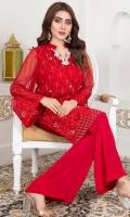 Crinkle chiffon fabric Embellish with pearls and cut dana