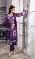 SHIRT: Embroidered Chiffon With Accessories DUPATA: 2.5 Mtr Chiffon Embroidered TROUSER: 2.25 Mtr Raw Silk