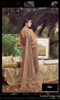 1.23-Yards Embroidered Front on Net with Till Work 1.23-Yards Embroidered Back on Net 0.75-Yard Embroidered Sleeves on Net with Tilla Work 0.75-Yard Tilla Embroidered Patti 1 for Front Border 0.75-Yard Tilla Embroidered Patti 2 for Front Border 0.75-Yard Tilla Embroidered Patti 3 for Front Border 0.75-Yard Tilla Embroidered Patti for Back Border 2.75-Yards Embroidered Dupatta on Net   2.75-Yards Raw silk Pant 2.75-Yards Cotton Silk Lining