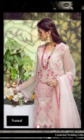 1.23-Yards Embroidered and Embellished Front on organza with sheesha and Crystal Work 1.23-Yards Hand Printed Back on Organza with Silver Printing 0.75 Yards Embroidered Sleeves with Sheesha Work 1-Yard Embroidered Border Patti with Sheesha Work for Shirt 1.12 Yards Printed Chatta Patti for trouser with Silver Printing 2.75-Yards Hand Printed Dupatta on organza with Silver Foil Printing 2.75-Yards Raw silk Pant 2.75-Yards Cotton Silk Lining