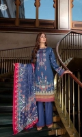 Neck Front     | Digital Printed Lawn with Embroidered Neck (1.25M)  Back                | Luxury Digital Printed Lawn Back  (1.25M) Sleeves           | Luxury Embroidered Lawn Sleeves  (1M)  Dupatta          |  Luxury Jacquard Chiffon Dupatta (2.5M) Trouser           | Cambric Cotton Trouser (2.5M)