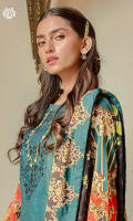 Neck Front     | Digital Printed Cambric Cotton Embroidered (1.25M)  Back                | Digital Printed Cambric Cotton (1.25M) Sleeves           | Digital Printed Cambric Cotton (1M)  Dupatta           | Digital Printed Luxury Lawn Embroidered Boring (2.5M) Trouser           | Dyed Cotton Trouser (2.5M)