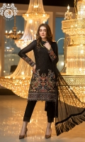 Shirt  Jacquard Lawn with full Embroidered Front Embroidered Chiffon Dupatta  Trouser Dyed Cotton