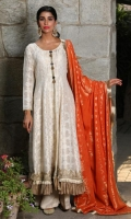 Includes: Shirt, Pants, Dupatta ,Lining   Shirt: Self Cotton Net    Pants: Shimmer Chiffon   Dupatta: Jaycarde