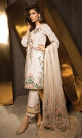 Shirt Front: Dyed Lawn Shirt Back:Dyed Jacquard Dupatta: Embroidered net Sleeves: Dyed Lawn Trouser: Dyed EMBROIDERY 1.Full Embroidered Front 2.Full Embroidered Sleeves 3.Embroidered Gala 4. Embroidered Dupatta 5. Embroidered Pallu for Dupatta