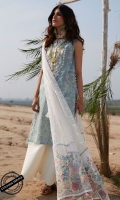 Embroidered and Digital Printed Shirt Front and Hand Screen Printed Shirt Back:3.15 Meters Embroidered Sleeves Dyed Trouser: 2.5 Meters Lasercut Embroidered Chiffon Dupatta: 2.5 Meters