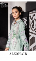 Shirt: Digital Printed Lawn Dupatta: Digital Printed Chiffon Sleeves: Dyed Lawn Trouser: Dyed EMBROIDERY 1.Embroidered Daman For Shirt 2. Embroidered Bunches for Sleeves 3. Embroidered Border For Neckline/ Trouser