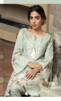 Shirt Front: Dyed Lawn Shirt Back: Digital Printed Lawn Dupatta : Digital Printed Chiffon Sleeves : Digital Printed Lawn Trouser : Dyed Embroidery 1. Embroidered Gala 2. Embroidered Front 3. Embroidered Border for Sleeves