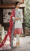 Shirt: Printed Lawn Dupatta : Embroidered Chiffon Sleeves : Printed Lawn Trouser : Dyed Border : Digital Printed Border for Dupatta Embroidery 1. Embroidered Gala 2. Embroidered Daman for Front 3. Embroidered Bunches for Sleeves 4. Embroidered Chiffon Dupatta 5. Embroidered Pallu for Dupatta