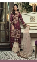 Shirt: Digital Printed Lawn Dupatta : Embroidered Net Sleeves : Digital Printed Lawn Trouser : Dyed Embroidery 1. Embroidered Gala 2. Embroidered Net Dupatta 3. Embroidered Border for Sleeves 4. Embroidered Daman for Front