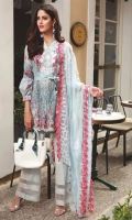 Shirt: Digital Printed Lawn  Dupatta: Embroidered Net Sleeves: Digital Printed lawn Trouser: Dyed Embroidery 1. Embroidered Gala 2. Embroidered Dupatta