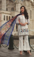 Shirt: Digital Printed Lawn  Dupatta: Digital Printed Chiffon Sleeves: Digital Printed lawn Trouser: Dyed  Embroidery 1. Embroidered Gala 2. Embroidered Daman For Shirt