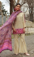Shirt Front: Dyed Embroidered Khaadi Net Shirt Back: Digital Printed Lawn  Dupatta: Digital Printed Silk Sleeves: Dyed Khaadi Net Trouser: Dyed Border: Digital Printed Border For daman Embroidery 1. Full Front Embroidered on Shirt 2. Embroidered Border for Sleeves