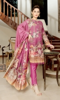 Embroidered Slub Karandi Slub Karandi Shawl Plain Trouser