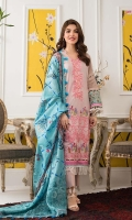 Shirt: Digital Printed Lawn Dupatta: Digital Printed Net Trouser: Dyed Cotton  Embroidery:  1-Full Front Embroidered Shirt