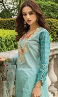 Shirt:  Printed Lawn  Dupatta:  Embroidered Net  Trouser: Dyed  Embroidery:  Embroidered Gala on Shirt  Emboirdered Daman on Shirt  Embroidered Net dupatta