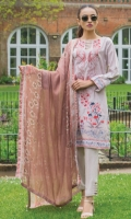 Shirt:  Printed Lawn  Dupatta:  Printed Chiffon  Trouser: Dyed  Embroidery:  Embroidered Gala on Shirt