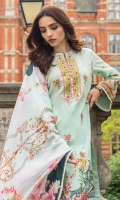 Shirt:  Digital Printed Lawn Dupatta: Digital Printed Silk Trouser: Dyed Embroidery: Front Embroidered Shirt Embroidered Trouser