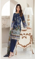 Shirt: Printed Lawn Dupatta: Printed Chiffon Trouser: Dyed Embroidery: 1. Embroidered Daman for Front 2. Embroidered Border for sleeves
