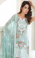 Shirt: Printed Lawn Dupatta: Printed P. Silk Trouser: Dyed Embroidery: 1. Embroidered Gala 2. Embroidered Daman on Shirt