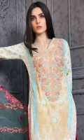1.25 Meter Embroidered Shirt Front 1.25 Meter Printed Shirt Back & Sleeves 2.5 Meter Chiffon Dupatta 2.5 Meter Printed Trouser