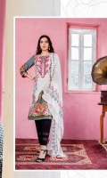 Embroidered Shirt Front 1.25 Mtr Shirt Back & Sleeve 1.75 Mtr Chiffon Embroidered Dupatta 2.5 Mtr Printed Trouser 2.5 Mtr