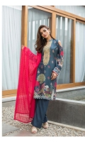 3 pcs unstitched embroidered suits Digital Printed Embroidered Lawn Shirt Embroidered Chikankari Dupatta Dyed Trouser
