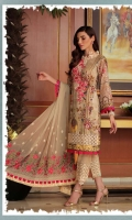 3 piece karandi fornt Embroided bamber chiffon Embroided dupatta