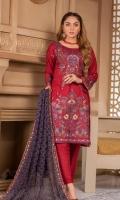 Heavy and Exclusive Embroidered Karandi Shirt Fancy Heavy Embroidered Pure Bamber Chiffon Dupatta Dyed Karandi Trouser