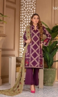 Heavy and Exclusive Embroidered Karandi Shirt Fancy Heavy Embroidered Pure Bamber Chiffon Dupatta Dyed Karandi Trouser