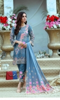 Premium Lawn Karandi printed Embroidered Shirt Pure Bamber Embroidered Chiffon Dupatta Plan Premium Lawn Karandi Trouser With Embroidered Lace