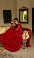 Color: Maroon Ready-to-wear Fabric: Chiffon Long length frock Embroidered front body Embroidered front and back frock flair Matching Churidar Baroshia Organza Dupata Inner attached Color slightly differ due to lighting effects in images.