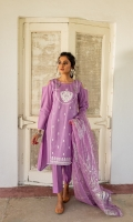 Ready-to-wear Fabric: Lawn Color:Lilac Front embroidered A-line closed slits shirt Foil Painted Chiffon Dupata Matching Straight Pant