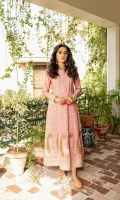 Ready-to-wear Fabric: Summer Cotton net Color: Peach Embroidered Front and back long Maxi Button down body Embroidered border of sleeves Matching Straight Pant Baroshia Organza Dupata Colors slightly differ due to lighten effects.