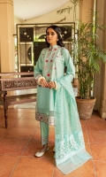 Ready-to-wear Fabric: Lawn Multi-Colored Embroidered Neckline, Sleeves border and Shirt border Matching trouser with. embroidered patch Baroshia Organza dyed Dupata Color: Ice Blue Collar Neckline