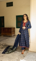 Ready-to-wear Fabric: Lawn Embroidered Dress Straight Pant Baroshia Organza matching Dupata Color: Navy Blue with the hint of red and green