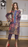NECKLINE EMBROIDERY DIGITAL PRINTED FRONT & BACK SIMPLE TROUSER