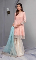 Dobby Lawn Peplum Frock With Embroidered Sleeves And Hem Paired With Matching Gharara And Embroidered Net Dupatta