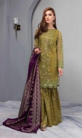 Green Embroidered Net Panelled Straight Shirt With Cotton Lawn Gharara And Jacquard Dupatta