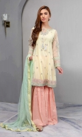 Net Panelled Frock With Embroidered And Sleeves Paired With Cotton Lawn Screen Printed Gharara And Net Dupatta