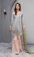 Embroidered Angrakha With Embroidered Sleeves And Hem Paired With Peach Cotton Lawn Screen Printed Gharara And Crushed Dupatta