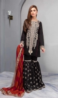 Shirt With Tribal Inspired Embroidery Shirt Paired With Embroidered Gharara And Tie N Dye Chiffon Dupatta