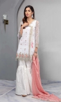 White Net Angrakha Dress With Embroidered Sleeves And Hem With Cotton Lawn Gharara And Chiffon Dupatta