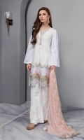 Straight Lawn Shirt With Embroidered Front And Chicken Sleeves Paired With Wide Leg Pants And Net Embroidered Dupatta