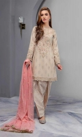 Lawn Jacquard Shirt With Embroidered Neckline Sleeves And Hem Paired With Jacquard Shalwar And Embroidered Net Dupatta