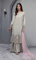 Self Printed Lawn Straight Long Shirt With Embroidered Border And Sleeves Paired With Self Print Gharara And Embroidered Net Dupatta