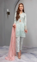 Straight Chiffli Lawn Shirt With Embroidered-Sleeves Paired With Straight Cotton Lawn Pants And Embroidered Net Dupatta