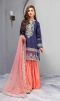 Panelled Straight Shirt With Organza Embroidered Border Neckline And Sleeves Paired With Cotton Lawn Gharara And Embroidered Net Dupatta.