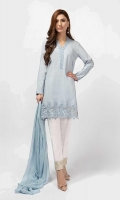 3 Piece Shirt, Trouser and Dupatta Straight lawn shirt with embroidered border and neckline Embroidered cotton pants Chiffon dupatta