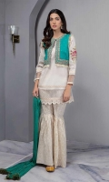 Embroidered Jacket Paired With White Lawn Straight Shirt With Organza And Laces Details And Cotton Lawn Gharara With Chiffon Crushed Dupatta